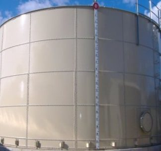 28,000 Gallon Carbon Bolted Steel Tank, Low Profile Roof - Diameter: 9' Peak Height: 56'